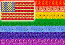 Rainbow gay usa floral flag. Rainbow gay and usa american flags background. Abstract handmade collage from summer flowers Stock Image