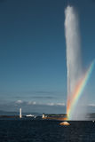 Rainbow At Geneva Jet D'eau Water Fountain Royalty Free Stock Photos