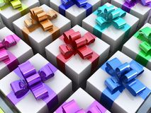 Rainbow gift background Royalty Free Stock Images