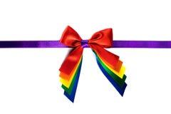 Rainbow gift ribbon bow Stock Photography