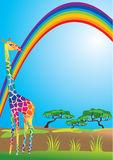 Rainbow and giraffe Royalty Free Stock Image