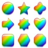 Rainbow Glass Buttons, Set Royalty Free Stock Images