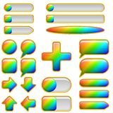 Rainbow glass buttons, set Stock Photos