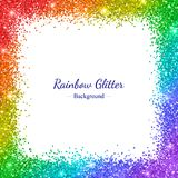 Rainbow glitter border frame on white background. Vector. Illustration Royalty Free Stock Photography