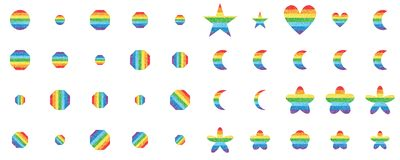 Rainbow glitter shape set. This illustration is design shape with rainbow glitter striped set in isolated object on white color background vector illustration