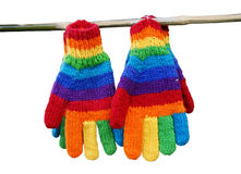 Rainbow gloves. Royalty Free Stock Image