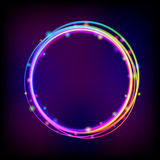 Rainbow glowing circle frame with sparkles Royalty Free Stock Image
