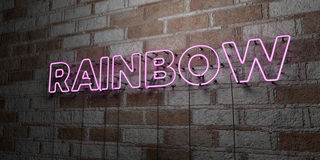 RAINBOW - Glowing Neon Sign on stonework wall - 3D rendered royalty free stock illustration Royalty Free Stock Image