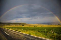 Rainbow gokkusagi. Isparta city of Turkey rainbow on the road Stock Image