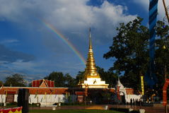 Rainbow with Golden Pagoda in Phra That Chae Haeng Temple Stock Image
