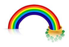 Rainbow and golden pot. Over a white background Stock Images