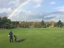 Rainbow on the golf course Stock Photography