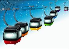 Rainbow gondolas on cableways Stock Photos