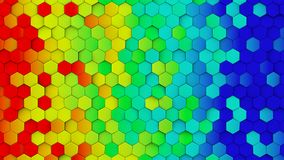 Rainbow gradient hexagons chaotic turned abstract 3D render Stock Photos