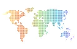 Rainbow gradient pixel world map. Colorful vector world map in squares royalty free illustration