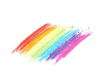 Rainbow gradient traces of pastel chalk. Isolated over the white background Royalty Free Stock Images