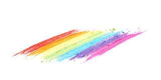 Rainbow gradient traces of pastel chalk. Isolated over the white background Stock Photography
