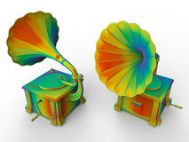 Rainbow gramophone. 3D render illustration of two rainbow gramophones. The composition is isolated on a white background with shadows Stock Photos