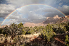 Rainbow in the Grand Canyon, USA. Scenery as seen from the Horseshoe Mesa Royalty Free Stock Photography