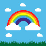 Rainbow with grass and clouds. In flat design on the blue background Royalty Free Stock Images