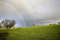 Rainbow in a grass landscape Royalty Free Stock Photos