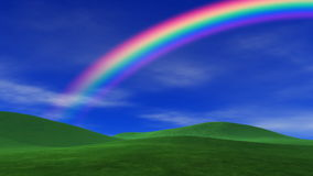 Rainbow, Grass & Peaceful Sky Royalty Free Stock Photography