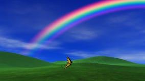 Rainbow, Grass & Peaceful Sky stock footage