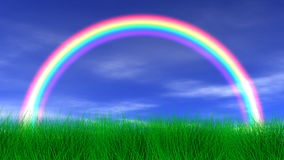 Rainbow, Grass & Peaceful Sky Royalty Free Stock Images
