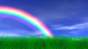 Rainbow, Grass & Peaceful Sky Royalty Free Stock Image