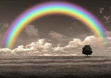 Rainbow in the gray sky Stock Image