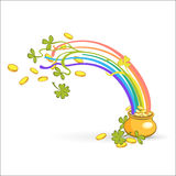Rainbow, green leaf lucky clover and pot full of gold. Vector illustration Stock Photos