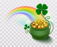 Rainbow, green leaf lucky clover and pot full of gold Stock Photos