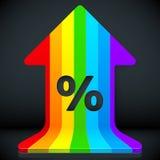 Rainbow grow up arrow with percent sign. Rainbow vector grow up arrow with percent sign Stock Images