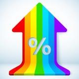 Rainbow grow up arrow with percent sign. Rainbow vector grow up arrow with percent sign Royalty Free Stock Image