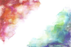 Rainbow grung style watercolor hand painting white background Stock Image