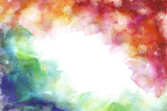 Rainbow grung style watercolor hand painting white background Royalty Free Stock Images