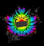 Rainbow Grunge Royal Label. Royalty Free Stock Photo