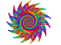 Rainbow Guilloché Spirograph Motif Medallion Stock Images