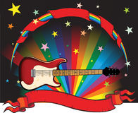 Rainbow guitar. With stars and banner Royalty Free Stock Images