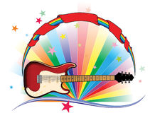 Rainbow guitar with stars and banner. Rainbow guitar light with stars and banner vector illustration