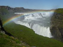 Rainbow in Gulfoss Iceland. Rainbow in sunny waterfall Gulfoss Iceland Royalty Free Stock Photography