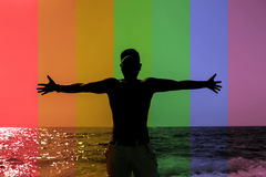 Rainbow Guy. By the Ocean Stock Images