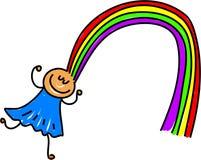 Rainbow hair. Little girl with colourful rainbow hair - toddler art series Stock Photo