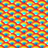 Rainbow half circle bright hidden seamless pattern Stock Photography