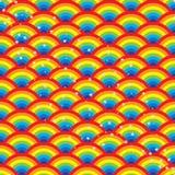 Rainbow half circle star seamless pattern Stock Images