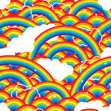 Rainbow half island cloud star seamless pattern Stock Photos