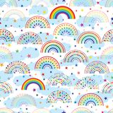 Rainbow half love star colorful cloud seamless pattern royalty free illustration