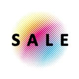 Sale Vector Symbol. Rainbow Halftone Circle Below. White Background. Circle Made of Dots. Black Text. Rainbow halftone circle below. White background. Circle vector illustration