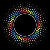 Rainbow Halftone swirl circle frame vector design element. Stock Image