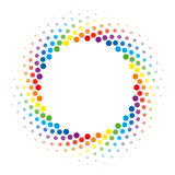 Rainbow Halftone swirl circle frame vector design element. Royalty Free Stock Photos